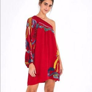 Farm Rio Embroidered One Shoulder Mini Dress